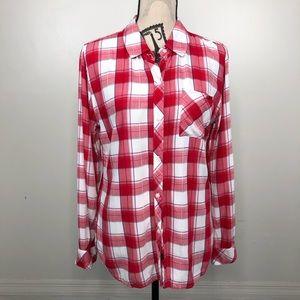 Rails Plaid Button Down Shirt Small Red/White